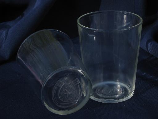 Western Star And Horseshoe Embossed Glass Bar Glasses