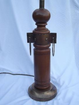 western wagon wheel vintage turned wood lamp w/ copper yoke hardware