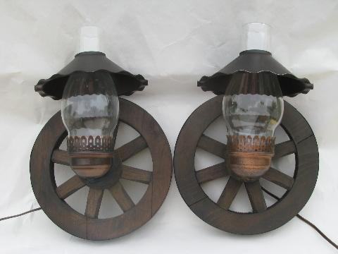 Old Wooden Wall Lights : western wagon wheel vintage wood wall light sconces, pair sconce lamps