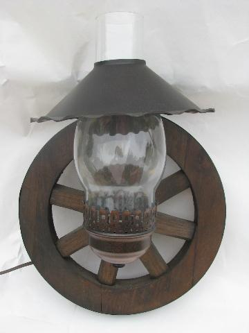 Western Wagon Wheel Vintage Wood Wall Light Sconces Pair