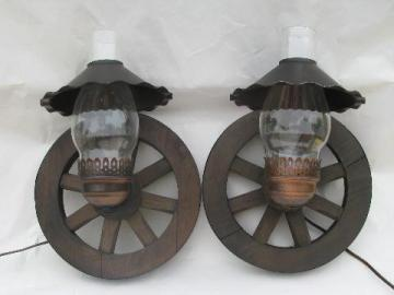 western wagon wheel vintage wood wall light sconces, pair sconce lamps