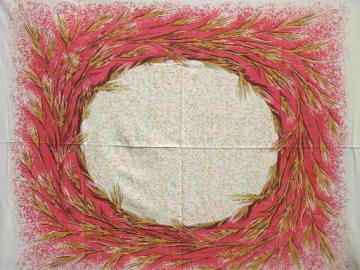 wheat wreath vintage printed cotton tablecloth for the harvest season