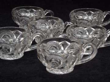wheel star pattern pressed glass punch cups, antique EAPG vintage