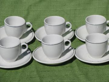 white w/black band vintage hotel / restaurant ironstone cups and saucers