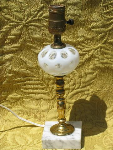 White Coin Spot Art Glass Table Lamp Brass Marble Vintage Italy