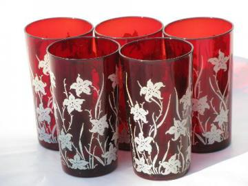 white flowers on royal ruby red glass tumblers, vintage glasses lot