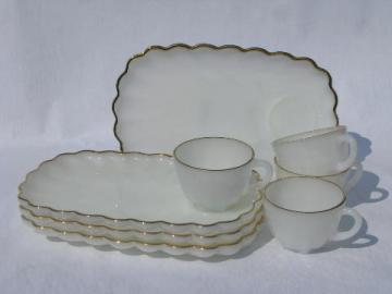 white w/ gold, shell edge star pattern vintage glass snack sets