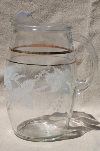 White Grapes Pattern Glass Pitcher Amp Tumblers Or Tea