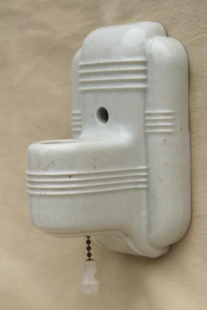 White Ironstone China Wall Sconce Light Art Deco Vintage