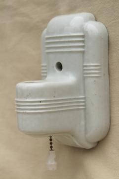 white ironstone china wall sconce light, art deco vintage pull chain switch single bulb fixture