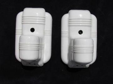 white ironstone china wall sconces, art deco vintage sconce lights