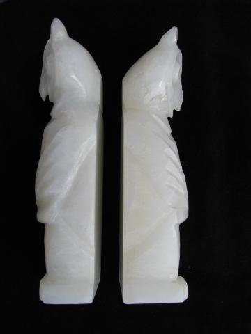 white owls, pair vintage onyx stone book ends, Mexico