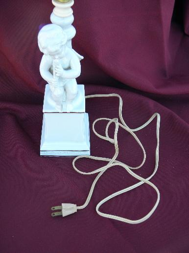 white porcelain statue lamp, 50s vintage boudoir china cherub figure