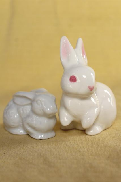 white rabbit china figurines, vintage Easter bunnies Napco & OMC Japan