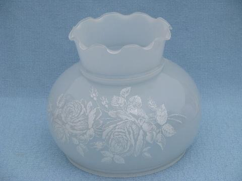 white roses on silver grey glass hurricane shade parlor lamp, Quoizel?