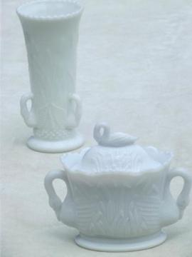 white swans milk glass vase & covered box, vintage Westmoreland glass