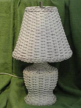 white wicker table or night stand lamp w/ shade, vintage cottage style