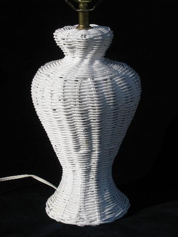 White Wicker Urn Shaped Table Lamp W Vintage Glass Ball Finial