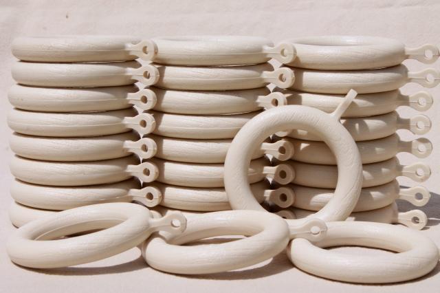 white wood grain plastic curtain hanging rings, big groovy vintage ...