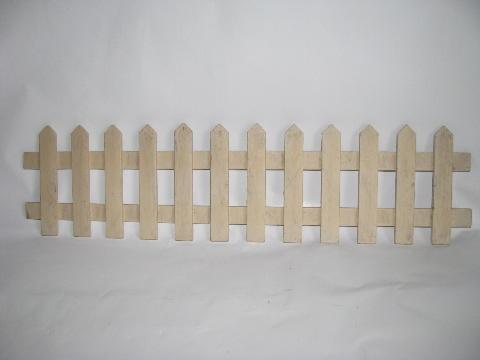 white wood picket fence for vintage Christmas village, old-fashioned putz scene