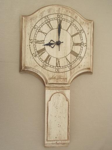 Whitewash Wood Seth Thomas Wall Clock Vintage Country
