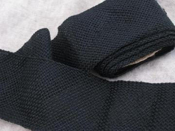 wide antique sewing braid, heavy black rayon or silk, vintage 1910