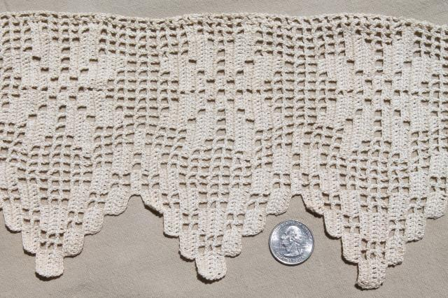 Wide Filet Crochet Lace Edging Border Heavy Handmade Crocheted