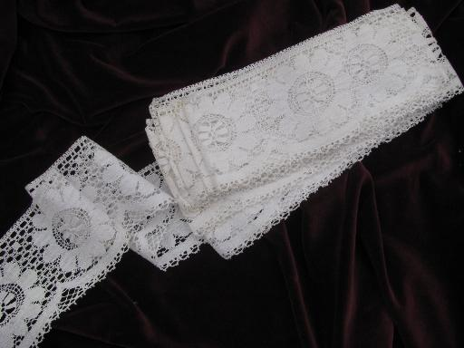 wide old cotton lace edging, 6+ yds vintage sewing trim for curtains