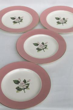 wide pink border flowered china plates, Alliance Glenwood vintage Homer Laughlin