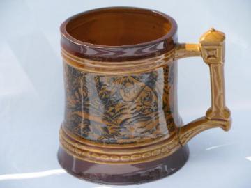wild boars boar hog hunt scene transferware beer mug stein, vintage Japan