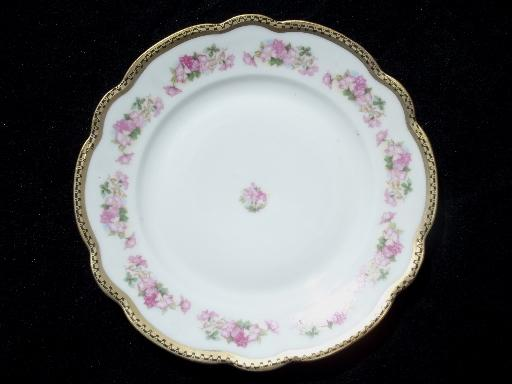 wild rose w/ black and gold, vintage Wheelock china bread and butter plates