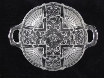 wild rose pattern vintage crystal depression glass dish