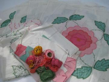 wild rose pink flower hand-stitched applique quilt block squares lot