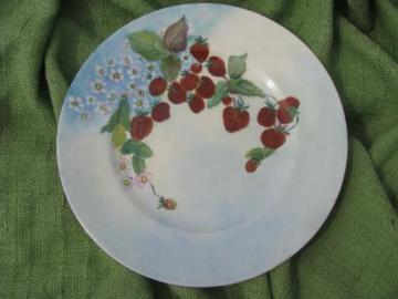 wild strawberries, vintage hand-painted china charger or large plate