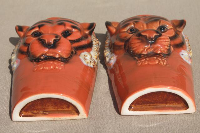 wild tiger wall pocket planters / vases, pair of retro ceramic tigers