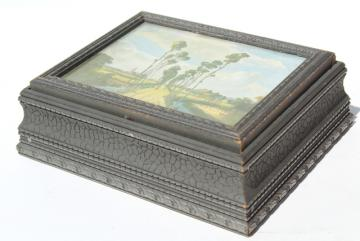 windy poplars vintage wood jewelry box w/ old impressionist art print
