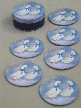 winter snow geese goose w/ blue bow tin coasters set, 80s vintage
