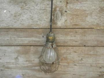 wire cage pendant light w/brass socket, early industrial vintage