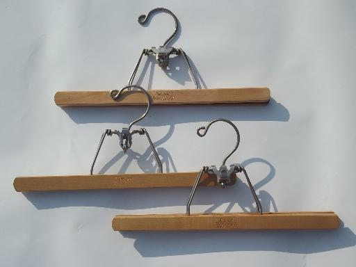 Wood Coat Closet Hangers, Vintage Wooden Clothes Suit Hanger Lot
