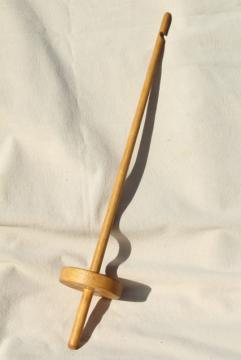 wood drop spindle, hand spinning spinner's tool, vintage primitive