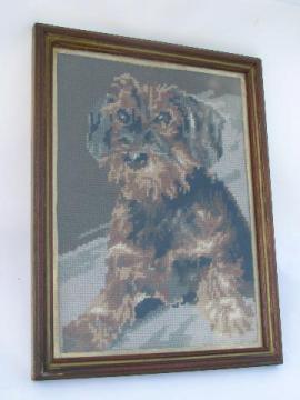 wood framed needlepoint picture, terrier dog portrait, 1940s vintage