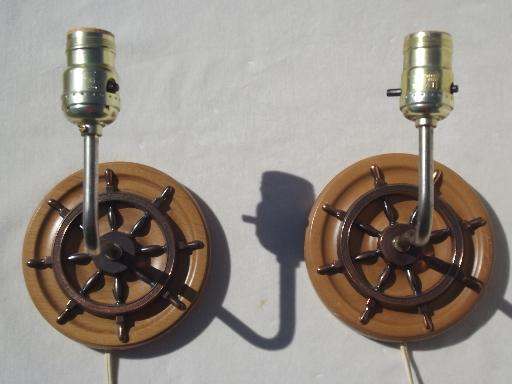 Nautical Themed Wall Sconces : wood ship s wheel wall sconce lamps, vintage sconces w/ nautical theme