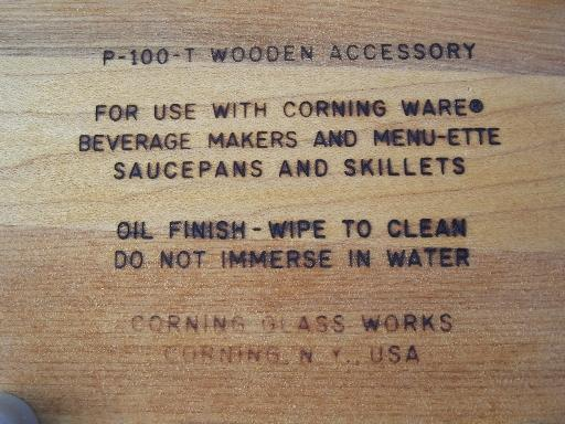 wood trivets for Corning Ware coffee / tea pots & Menu-ette glass pans