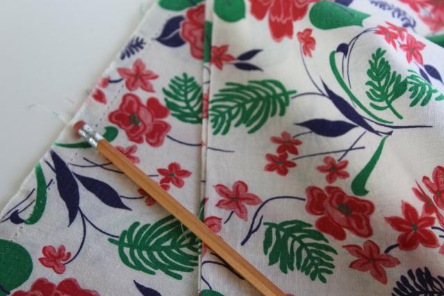 woodland wild flowers print cotton feed sack fabric, 1940s 50s vintage