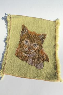 wool needlepoint canvas tabby cat kitten, vintage needlework to upcycle