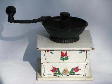 working hand-crank coffee grinder, vintage reproduction, painted design