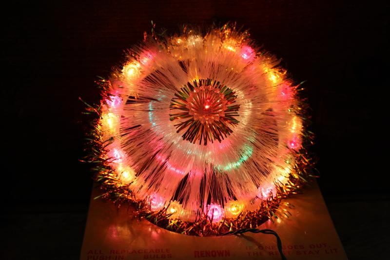 working vintage Renown Christmas lights tree topper star spinning colors 1970s Taiwan