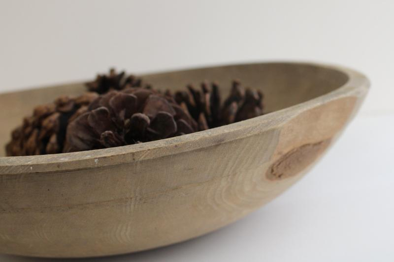 worn and weathered old wood bowl, vintage farmhouse round wooden dough bowl