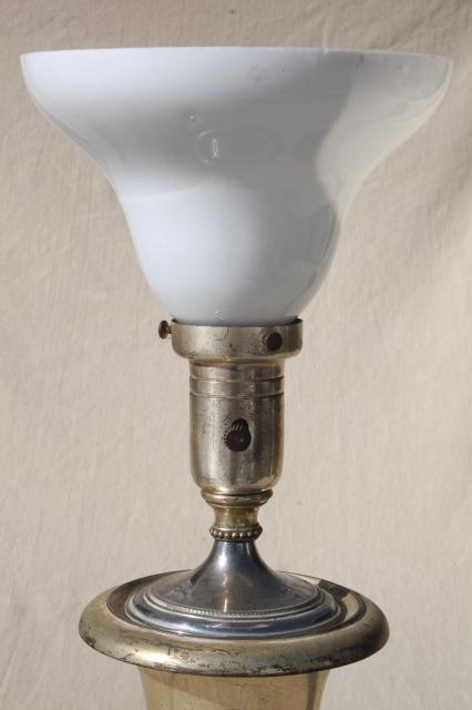 Worn Antique Silver Plate Trophy Cup Urn Table Lamp Deco
