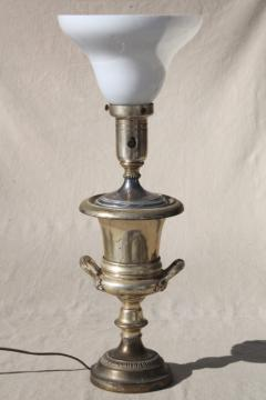 worn antique silver plate trophy cup urn table lamp, deco vintage milk glass torchiere shade